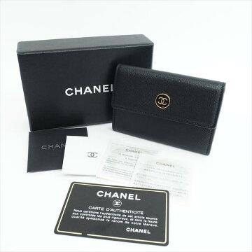 【美品】CHANELシャネルココボタンA27280レザー財布・バッグ小物コインケース【中古】