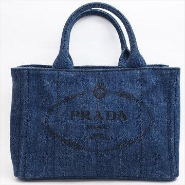 【美品】PRADAプラダカナパ2WAY1BG439デニムレディースバッグトートバッグ【中古】