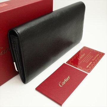 [Almost new] CARTIER Cartier Marcello de Cartier Marcello line L3000911 Buffalo leather mens purse wallet (with coin purse) [pre]