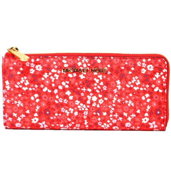 3907a868a5df アメリカのマイケルコースより大人気の長財布を買い付けました!女性らしいレッドカラーをベースにフローラル柄がプリントされた大人可愛いデザインが魅力◎スリムな  ...