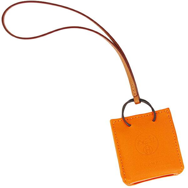 P8倍 エルメスバッグチャームサックオランジュラムスキンフー2019秋冬 オレンジショッパー袋オーナメントアクセサリーHERM