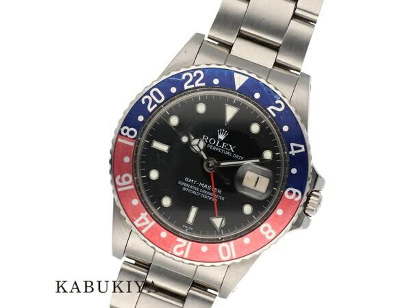 ROLEXロレックスGMTマスター16750SSステンレススチール腕時計スポーツモデルアンティークペプシ赤青87番台自動巻きAT