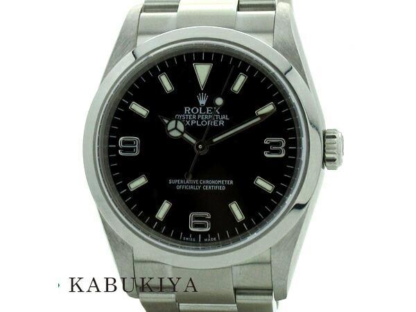 ROLEXロレックスエクスプローラー1114270SS黒文字盤腕時計箱ギャラD番時計ステンレスメンズ人気ブランド 中古 xx19