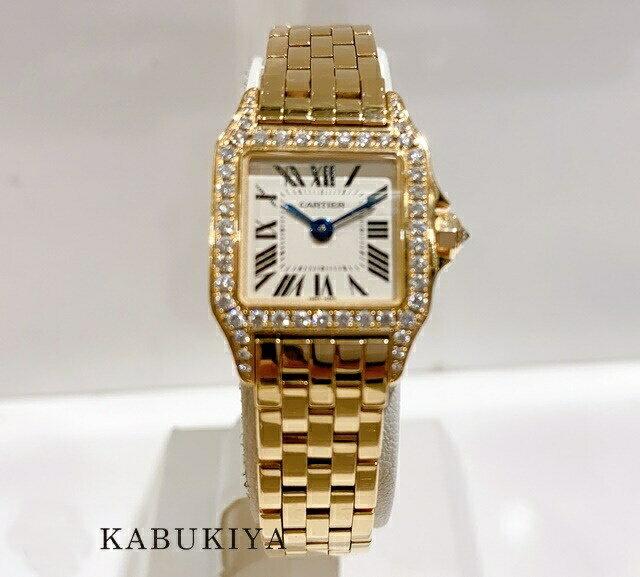 Cartier カルティエ レディース 腕時計ミニサントス ドゥモワゼル ダイヤベゼル シルバー文字盤 WF9011Z8 Au750 K18イエローゴールド YG人気ブランド【中古】xx17-21510KM
