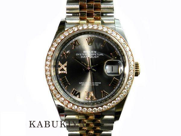 ROLEXロレックスデイトジャスト36126281RBRSS/K18PGダークロジウムダイアルランダム番コンビ腕時計ギャラメンズ