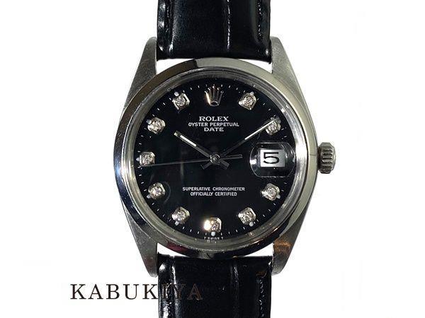 ROLEXロレックスオイスターパーペチュアル1500SSブラック黒AT自動巻き10PDアフターダイヤモンド30番腕時計メンズ人気