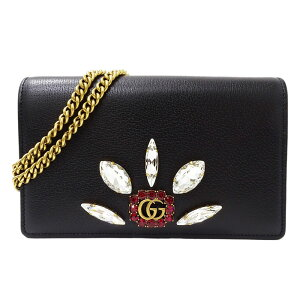 [All products 1000 yen OFF coupons issued! Until 7/5!] ◆ Gucci GUCCI GG Marmont Chain Wallet Shoulder Bag Wallet Leather Black 499782 [Used]