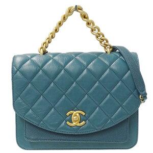◆香奈儿CHANEL Matrasse链条单肩包小羊皮蓝绿色G金属配件2836 **** [二手]