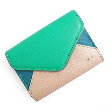 クロエ パッチワーク 三つ折り財布 3P0208 グリーン系【新品・未使用品】