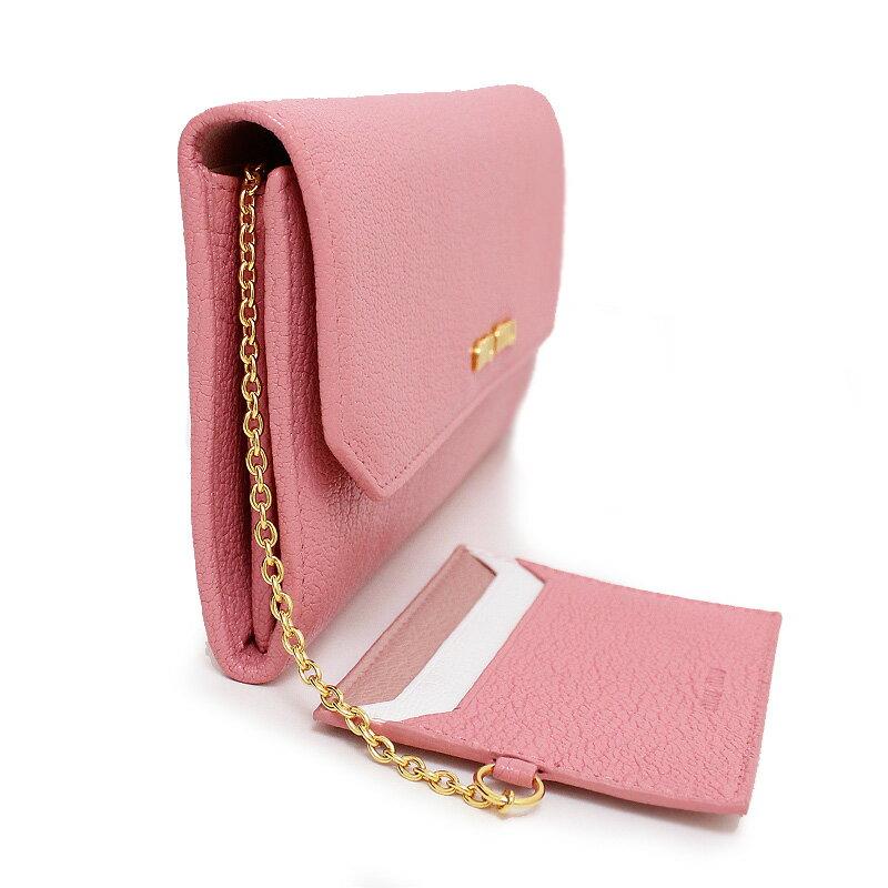 ミュウミュウ マドラス 二つ折り長財布 パスケース付き ピンク系 5MH379 【新品・未使用品】