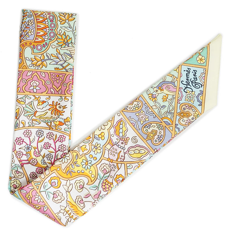 エルメス ツイリー リボンスカーフ シルク100% Au Pays des Oiseaux Fleurs 花咲く鳥たちの国で H062983S 箱付【新品・未使用品】