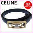 セリーヌ CELINE ベルト メンズ可 ♯65 ロゴモチーフ ブラック×ゴールド レザー 【中古】 C689