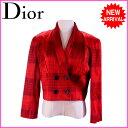 【お買い物マラソン】 【中古】 クリスチャン・ディオール Christian Dior ジャケット /肩パッド入り /レディース /ダブル・ショート丈 タータンチェック レッド系 C/50%RY48%PU/2%(裏地)キュプラ/100% C782s