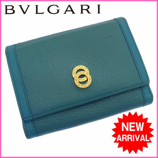 b2723e439bf0 ブルガリ BVLGARI 三つ折り財布 メンズ可 ドッピオトンド ターコイズ×ゴールド レザー 【中古】 D648 ☆, ブルガリ 財布 レディース可