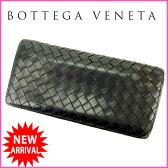 ボッテガ・ヴェネタ BOTTEGA VENETA 長札入れ メンズ可 イントレチャート ブラック レザー 【中古】 D1163
