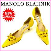 マノロブラニク MANOLO BLAHNIK パンプス #38 レディース イエロー スエード (あす楽対応)良品 人気 【中古】 D1172 .