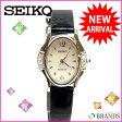 セイコー SEIKO 腕時計 ラインストーン ブラック×シルバー レザー×シルバー素材 (あす楽対応)( 美品 ・即納)【中古】 J144