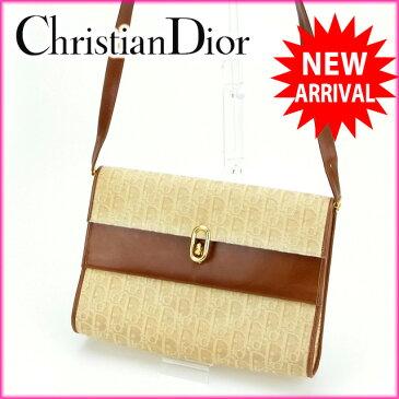 【中古】 クリスチャン・ディオール Christian Dior ショルダーバッグ /ワンショルダー トロッター ベージュ×ライトブラウン キャンバス×レザー (あす楽対応)(ヴィンテージ) Y273s