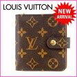 ルイヴィトン Louis Vuitton 二つ折り財布 ラウンドファスナー メンズ可 /コンパクトジップ モノグラム M61667 ブラウン PVC×レザー (あす楽対応)(参考定価60900円)【中古】 J905 .