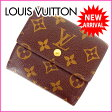 ルイヴィトン Louis Vuitton Wホック財布 三つ折り /メンズ可 /ポルトフォイユエリーズ モノグラム M61652 ブラウン PVC×レザー (あす楽対応)(・ 人気 )(参考定価65100円)【中古】 J2255 .