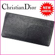 クリスチャン・ディオール Christian Dior 長札入れ メンズ可 オーストリッチ型押し ブラック レザー 【中古】 J5621