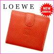 ロエベ LOEWE Wホック財布 メンズ可 オレンジ レザー 【中古】 J5680