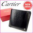 カルティエ Cartier 二つ折り財布 メンズ可 マストライン ブラック レザー 【中古】 J6239
