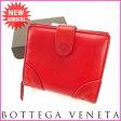 ボッテガ・ヴェネタ BOTTEGA VENETA 二つ折り財布 メンズ可 イントレチャート レッド レザー 【中古】 J7231