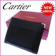 カルティエ Cartier 二つ折り財布 コンパクトサイズ メンズ可 角プレート付き カボション ブラック×シルバー×ボルドー レザー 【中古】 J7895