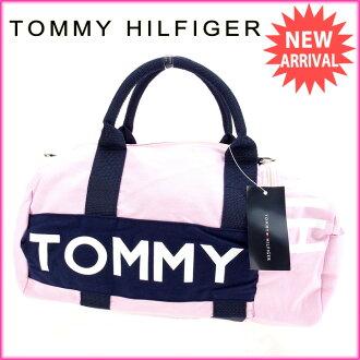 tomihirufiga TOMMY HILFIGER寬底旅行皮包2WAY肩膀女士粉紅棉100%(對應)未使用的物品A899。