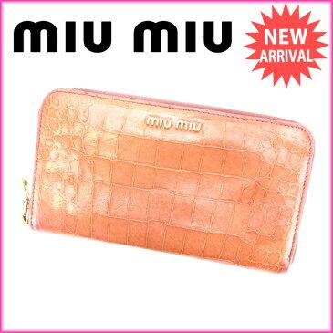 【中古】 ミュウミュウ miumiu 長財布 ラウンドファスナー レディース クロコダイル型押し ピンク PVC×レザー (あす楽対応)激安 Y2998