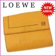 ロエベ LOEWE Wホック財布 二つ折り コンパクトサイズ メンズ可 アナグラム イエロー系 レザー 【中古】 J8418