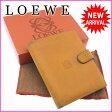 ロエベ LOEWE Wホック財布 二つ折り メンズ可 アナグラム マスタード レザー 【中古】 J9401