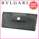 【中古】 ブルガリ Bvlgari 長財布 財布 ブラック レディース P184s
