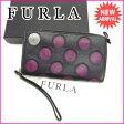 フルラ FURLA 長財布 ラウンドファスナー メンズ可 ブラック×パープル レザー (あす楽対応) 良品【中古】 J7296
