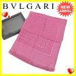 ブルガリ BVLGARI スカーフ ショール ファッションアイテム メンズ可 フリンジ付き ロゴマニア柄 パープル SILK/65%W/65% (あす楽対応) 美品 【中古】 J9980