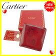 カルティエ Cartier 二つ折り財布 レディース ハッピーバースデー ボルドー レザー (あす楽対応) 人気 【中古】 J10615 ★