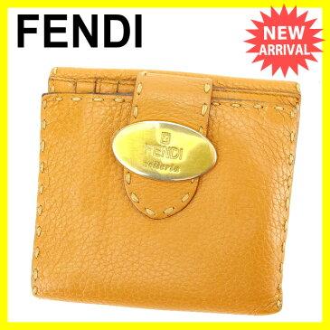 【中古】 フェンディ FENDI Wホック財布 二つ折り財布 男女兼用 セレリア ライトブラウン×ゴールド レザー E968