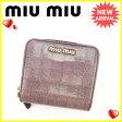 ミュウミュウ miumiu 二つ折り財布 ラウンドファスナー レディース クロコダイル調 5M0522 パープル×ゴールド 型押しレザー (あす楽対応) 人気 【中古】 J12421