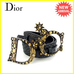 Christian Dior【クリスチャンディオール】 ベルト /レザー×ゴールド金具 レディース