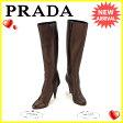 プラダ PRADA ブーツ シューズ 靴 レディース ♯35ハーフ ハイヒール ロング ブロンズ レザー 【中古】 A1009 .
