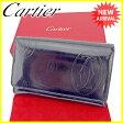カルティエ Cartier L字ファスナー財布 二つ折り財布 メンズ可 ハッピーバースデー ダークネイビー×シルバー エナメルレザー 【中古】 A1390