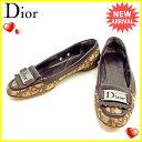 ディオール Dior シューズ #36 1/2 レディース ヴィンテージ トロッター ボルドー×ベージュ キャンバス×レザー 人気 【中古】 T1212 .