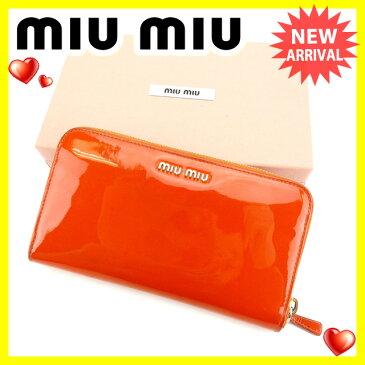 【中古】 ミュウミュウ miumiu 長財布 レディース リボン 5M0506 オレンジ エナメルレザー (あす楽対応)激安 Y4031