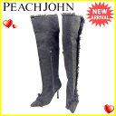 ピーチ ジョン PEACH JOHN ブーツ シューズ 靴 レディース ニーハイ ブラック スエード 訳あり セール 【中古】 Y7593 .