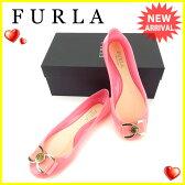 フルラ FURLA パンプス フラットシューズ 靴 レディース ♯38 リボンモチーフ ピンク×ゴールド ラバー 【中古】 J11931
