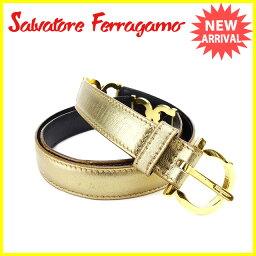 Salvatore Ferragamo【サルヴァトーレフェラガモ】 ベルト /レザー×ゴールド レディース