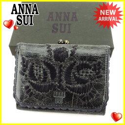 ANNA SUI【アナスイ】 三つ折り財布(小銭入れあり) /レザー レディース