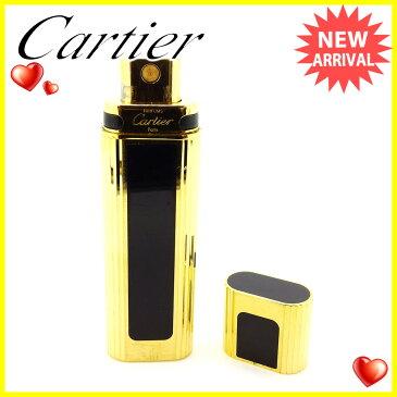【中古】 カルティエ Cartier 香水入れ 香水ケース ゴールド×ブラック スプレー式 プッシュ式 アトマイザー レディース メンズ 可 L1783s .