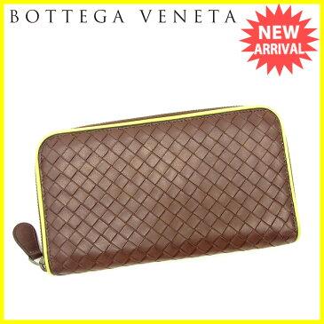 【中古】 ボッテガ ヴェネタ 長財布 ラウンドファスナー Bottega Veneta ブラウン×グリーン L1802s